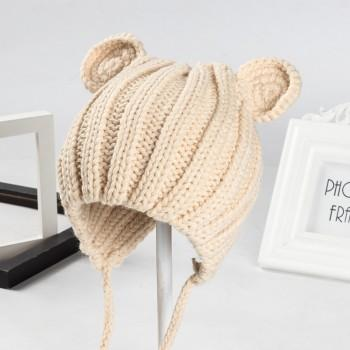 Lovely Ear Design Solid Knitted Hat for Baby