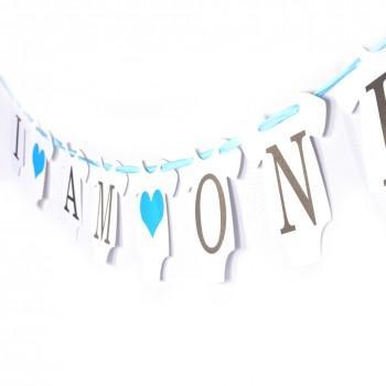 1 piece i am one baby boy birthday banner in blue patpat