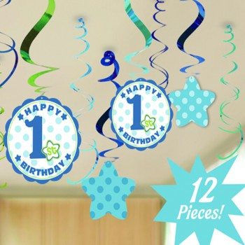 12-piece Baby Boy First Birthday Party Spiral Ribbon Decorations Set