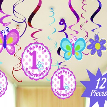 12-piece Baby Girl First Birthday Party Spiral Ribbon Decorations Set