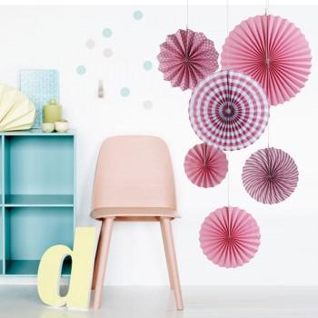 6-piece Designed Paper Fan Flower Decoration Set