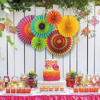 6-piece Pretty Colorful Paper Fan Flower Party Decorations Set