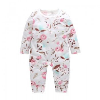 Sassy Floral Long-sleeve Jumpsuit in White for Baby Girl