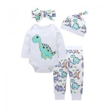 4-piece Adorable Dinosaur Print Romper, Pants, Hat and Headband Set for Baby
