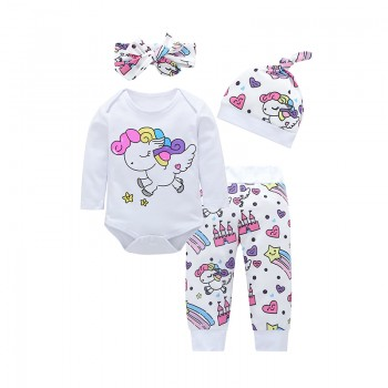 4-piece Cute Unicorn Print Romper, Pants, Headband and Hat Set for Baby Girl