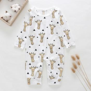 Cute Little Giraffe Print Long-sleeve Jumpsuit for Baby