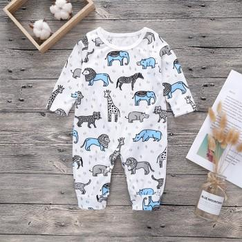 Beautiful Allover Animal Long-sleeve Jumpsuit for Baby