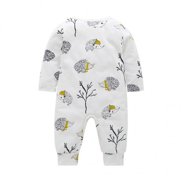 Stylish Hedgehog Print Long-sleeve Jumpsuit for Baby