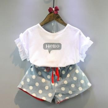 2-piece Sweet Letter Print Ruffled Tee and Polka Dot Denim Shorts Set for Girl