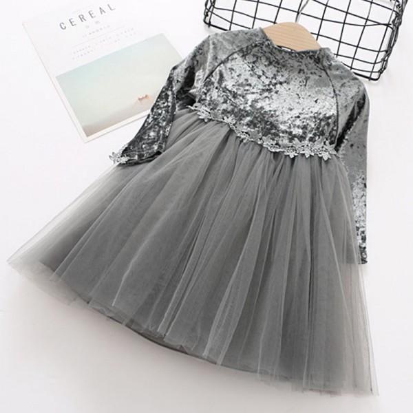 Fashionable Velvet Mesh Splicing Long-sleeve Dress for Toddler