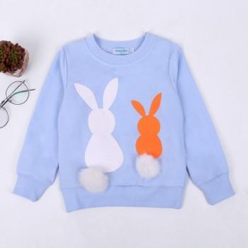 Lovely Rabbit Print Long-sleeve Pullover for Girl