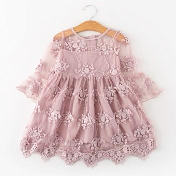 Fairy Embroidered Lace Flower Flare-sleeve Dress for Toddler Girl and Girl