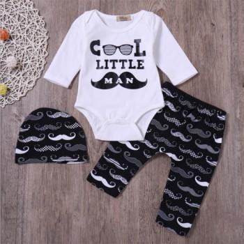 Baby Boy's Cool Little Moustache Man Bodysuit Pants and Hat Set