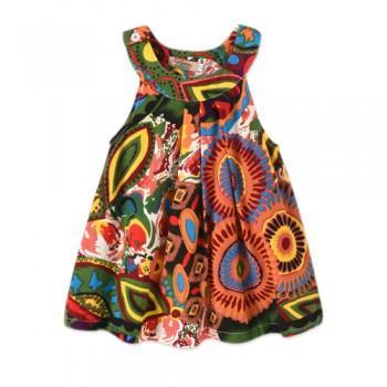 Trendy Ethnic Patterned Sleeveless Dress for Toddler Girl and Girl