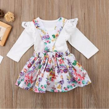 2-piece Pretty Lace Bodysuit and Floral Suspender Skirt Set for Baby and Toddler Girl