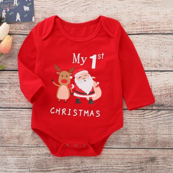 "Beautiful ""My 1st Christmas"" Print Long-sleeve Bodysuit for Baby"