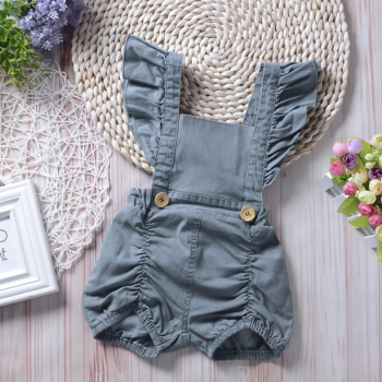 Trendy Ruffled Denim Slip Romper in Blue for Baby Girl