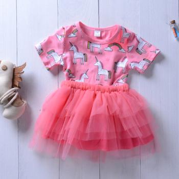 Pretty Unicorn Print Short-sleeve Tulle Dress for Baby Girl