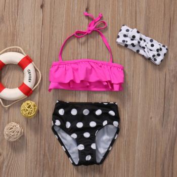 3-piece Sweet Ruffled Swim Top, Polka Dot Bottom and Headband Set for Baby Girl