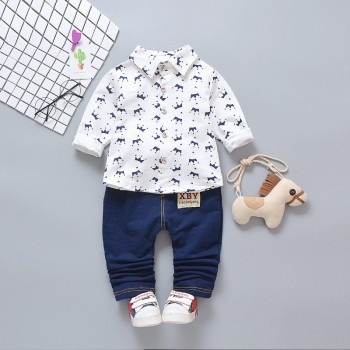 2-piece Handsome Crown Patterned Long-sleeve Shirt and Pants Set for Baby Boy and Boy