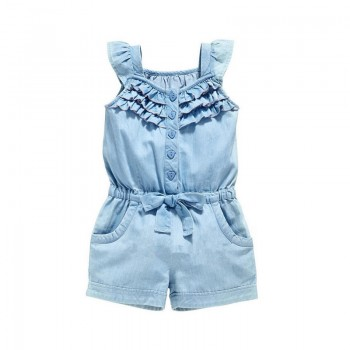 Beautiful Solid Bowknot Decor Flutter-sleeve Romper for Toddler Girl and Girl