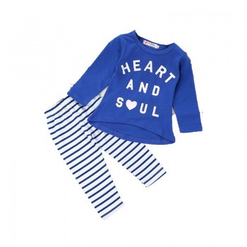 Casual Letter Print Long-sleeve Top and Striped Pants Set for Toddler Girl