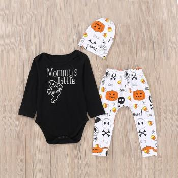 Stylish Halloween Patterned Romper and Pants Set for Baby