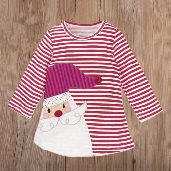 Toddler Girl and Girl's Amiable Santa Claus Applique Long-sleeve Dress