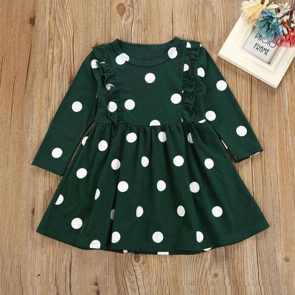 Comfy White Dots Print Ruffled Long-sleeve Dress in Dark Green