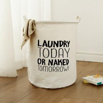 Trendy Letter Print Foldable Linen Laundry Basket