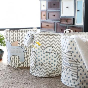 Trendy Unicorn Print Linen Laundry Basket
