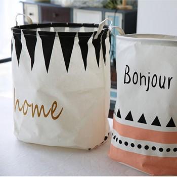 Triangle Letter Print Linen Laundry Basket