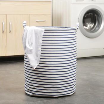 Trendy Foldable Striped Laundry Basket