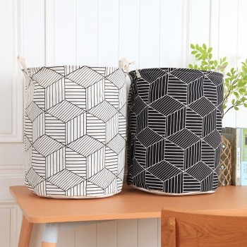 Trendy Portable Striped Linen Laundry Basket
