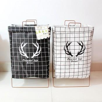 Trendy Foldable Deer Print Plaid Laundry Basket