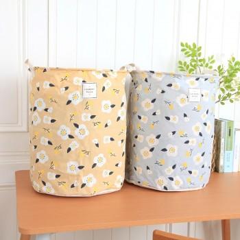 Pretty Floral Portable Linen Laundry Basket
