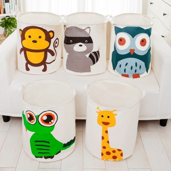 Trendy Cartoon Animal Print Foldable Linen Laundry Basket
