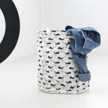 Trendy Cartoon Whale Print Linen Laundry Basket