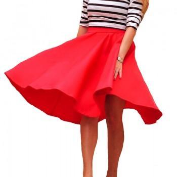 Pretty Solid High-waist Long Skirt for Women
