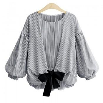 Casual Striped Lantern Sleeve T-shirt for Women
