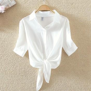 Fashion Waist Strap Design Short Sleeve Shirt for Women