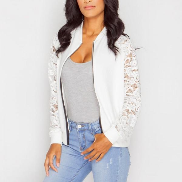 Solid Lace Sleeves Jacket for Women