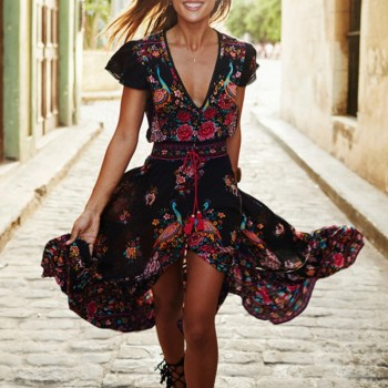 Pretty Floral Cinched V Neck Short-sleeve Dress for Women