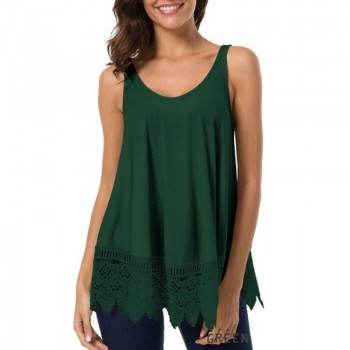 Casual Solid Lace-trimmed Tank Top for Women