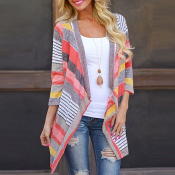 Casual Striped 3/4 Sleeve Cardigan for Women