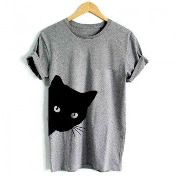 Chic Cat Print Round Collar Short Sleeves Tee for Women