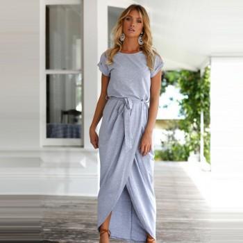 Graceful Solid Cinched Split Dress