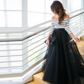 Sassy Off Shoulder Stripe Top and Tulle Skirt Set