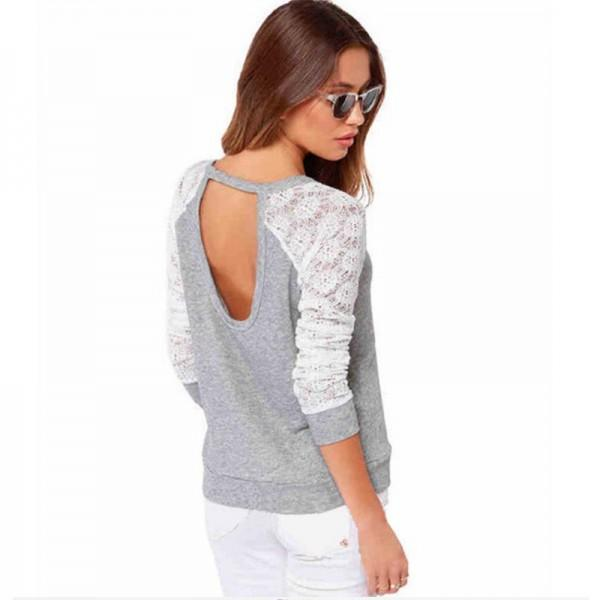 Pretty Color Blocking Lace Design T-shirt