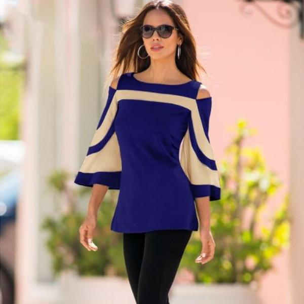 Trendy Cold Shoulder Color Blocking Top